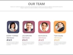 Four Team Members With Profile Details Powerpoint Slides