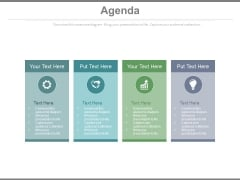 Four Text Boxes For Business Agenda Implementation Powerpoint Slides
