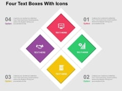 Four Text Boxes With Icons Powerpoint Templates