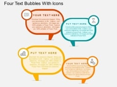 Four Text Bubbles With Icons Powerpoint Templates