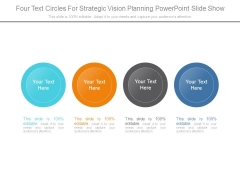 Four Text Circles For Strategic Vision Planning Powerpoint Slide Show