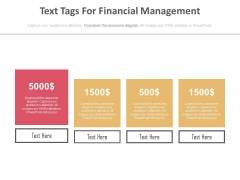 Four Text Tags For Financial Management Powerpoint Slides