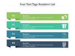 Four Text Tags Numbers List Ppt PowerPoint Presentation File Slide Portrait PDF