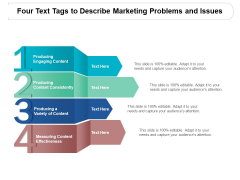 Four Text Tags To Describe Marketing Problems And Issues Ppt PowerPoint Presentation Pictures Slide Portrait
