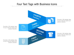 Four Text Tags With Business Icons Ppt PowerPoint Presentation Icon Diagrams PDF