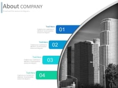 Four Text Tags With Corporate Building Powerpoint Slides
