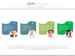 Four Text Tags With Employee Pictures Powerpoint Slides