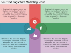 Four Text Tags With Marketing Icons PowerPoint Template