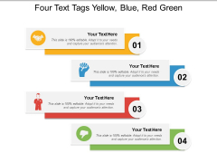 Four Text Tags Yellow Blue Red Green Ppt PowerPoint Presentation File Portfolio PDF