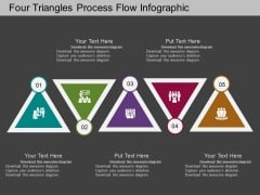 Four Triangles Process Flow Infographic Powerpoint Template