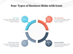 Four Types Of Business Risks With Icons Ppt PowerPoint Presentation File Inspiration PDF