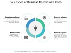 Four Types Of Business Sectors With Icons Ppt PowerPoint Presentation Infographic Template Example File