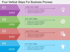 Four Vertical Steps For Business Process Powerpoint Template