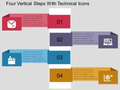 Four Vertical Steps With Technical Icons Powerpoint Template
