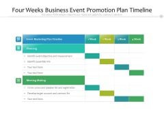 Four Weeks Business Event Promotion Plan Timeline Ppt PowerPoint Presentation File Summary PDF