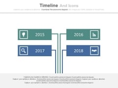 Four Years Based Timeline With Icons Powerpoint Slides