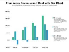 Four Years Revenue And Cost With Bar Chart Ppt PowerPoint Presentation Gallery Images PDF