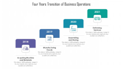 Four Years Transition Of Business Operations Ppt PowerPoint Presentation Slides Maker PDF