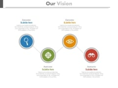 Four Zigzag Circles With Icons Powerpoint Slides