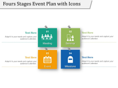 Fours Stages Event Plan With Icons Ppt PowerPoint Presentation Infographics Display