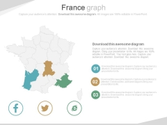 France Map With Social Media Icons Powerpoint Slides