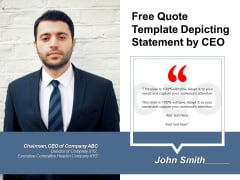 Free Quote Template Depicting Statement By CEO Ppt PowerPoint Presentation File Microsoft PDF