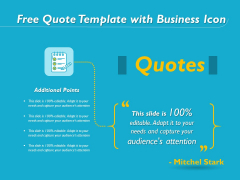 Free Quote Template With Business Icon Ppt PowerPoint Presentation Gallery Format Ideas PDF