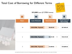 Freehold Property Business Plan Total Cost Of Borrowing For Different Terms Ppt Slides Ideas PDF