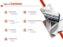 Freelance Writer Table Of Contents Ppt PowerPoint Presentation Layouts Model PDF