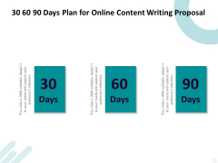 Freelance Writing 30 60 90 Days Plan For Online Content Writing Proposal Ideas PDF