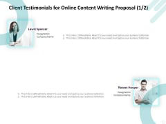 Freelance Writing Client Testimonials For Online Content Writing Proposal Diagrams PDF