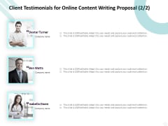 Freelance Writing Client Testimonials For Online Content Writing Proposal Team Infographics PDF