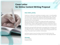 Freelance Writing Cover Letter For Online Content Writing Proposal Ppt Infographic Template Show PDF
