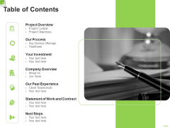 Freelance Writing Proposal Table Of Contents Ppt Styles Graphics Tutorials PDF
