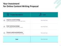 Freelance Writing Your Investment For Online Content Writing Proposal Ppt Slides Deck PDF