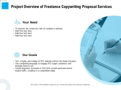 Freelancer RFP Project Overview Of Freelance Copywriting Proposal Services Ppt PowerPoint Presentation Icon Gridlines PDF