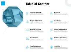 Freelancer RFP Table Of Content Ppt PowerPoint Presentation Summary Background Image PDF