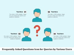 Frequently Asked Questions Icon For Queries By Various Users Ppt PowerPoint Presentation Gallery Styles PDF