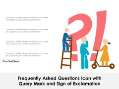 Frequently Asked Questions Icon With Query Mark And Sign Of Exclamation Ppt PowerPoint Presentation Gallery File Formats PDF