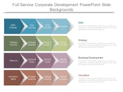 Full Service Corporate Development Powerpoint Slide Backgrounds