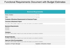 Functional Requirements Document With Budget Estimates Ppt Powerpoint Presentation Gallery Portfolio