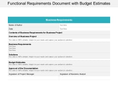 Functional Requirements Document With Budget Estimates Ppt PowerPoint Presentation Pictures Example File