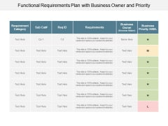Functional Requirements Plan With Business Owner And Priority Ppt PowerPoint Presentation Show Deck