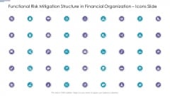Functional Risk Mitigation Structure In Financial Organization Icons Slide Introduction PDF