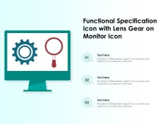 Functional Specification Icon With Lens Gear On Monitor Icon Ppt PowerPoint Presentation Infographics Structure PDF