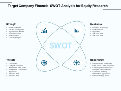Fund Investment Advisory Statement Target Company Financial SWOT Analysis For Equity Research Graphics PDF