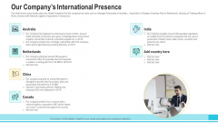 Funding Deck To Procure Funds From Public Enterprises Our Companys International Presence Infographics PDF