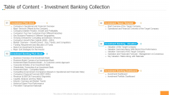 Funding Pitch Book Outline Table Of Content Investment Banking Collection Ppt Inspiration Background Images PDF
