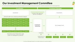 Funding Pitch Deck Our Investment Management Committee Introduction PDF