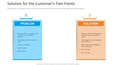 Funding Pitch To Raise Funds From PE Solution For The Customers Pain Points Microsoft PDF